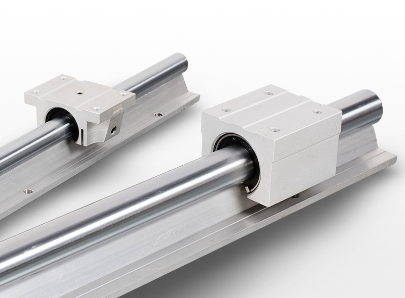 Linear round shaft with support and bearings
