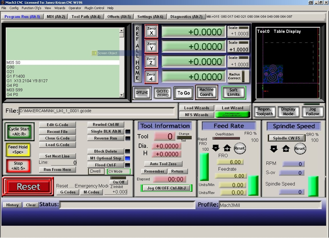 CNC control software for MACH3