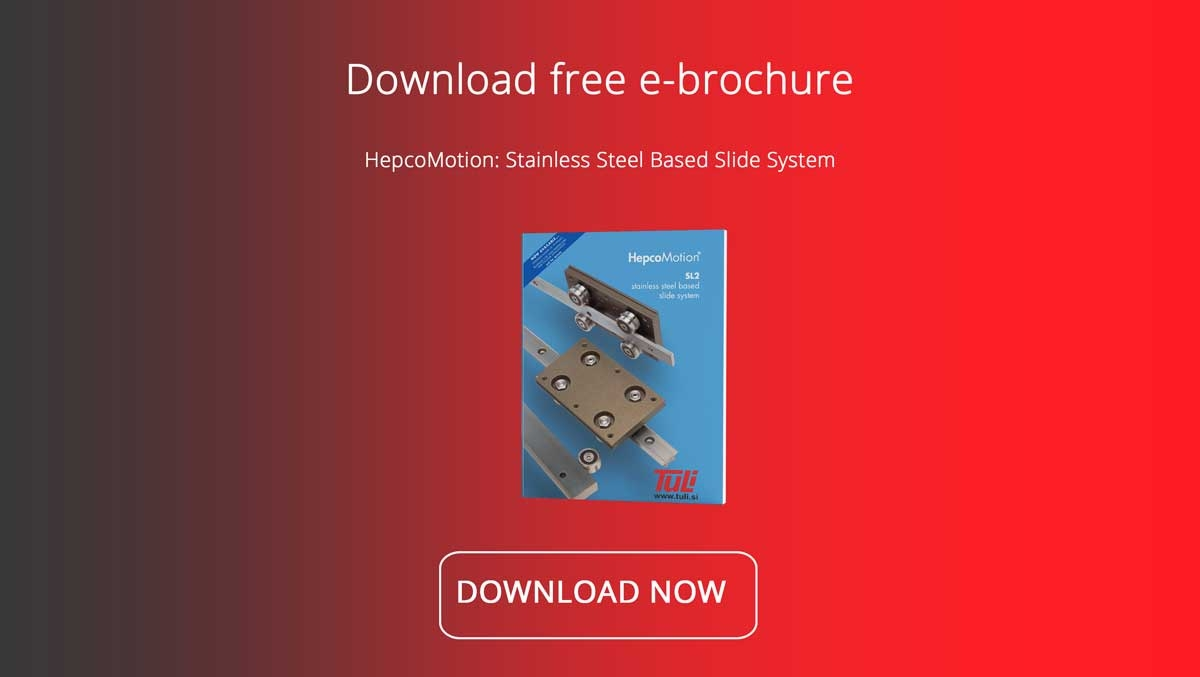 HepcoMotion SL2 stainless steel linear guide is the perfect Linear Motion System for any corrosion-resistant utilisation.